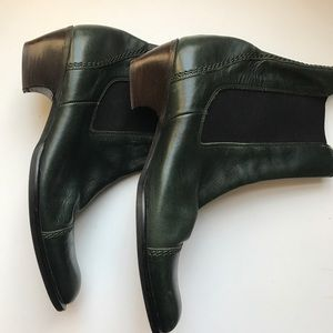 MaxMara forest green all leather ankle bootie